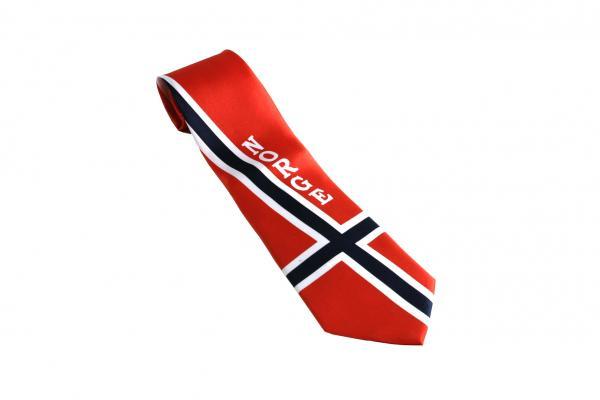 ac348f77 Festlig slips med mønster i det norsk flagget - Patriotisk