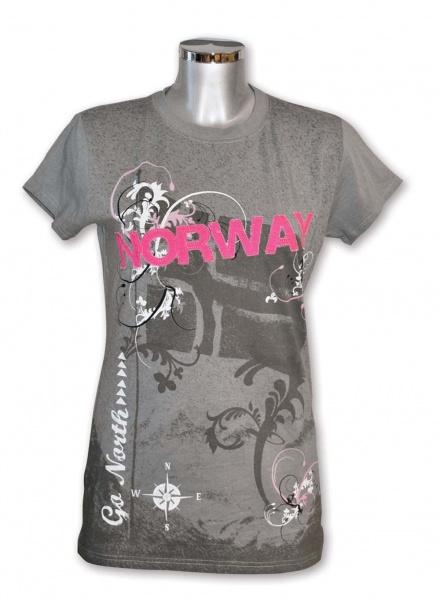7c6710f3 Flott dame t-skjorte i original design, grå med patch - Patriotisk