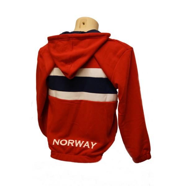 b9aa28b0 Heia Norge! Flott college jakke med hette i norsk flagg - Patriotisk